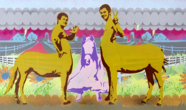 Dog And Pony Show - 23x39inch Spuitbus stencil op paneel