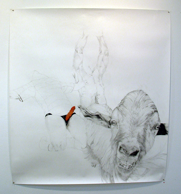 Eline Wessels - Cum, lets go feed the little goats - 200x150cm Potlood, acryl en lakEline Wessels - Cum, lets go feed the little goats - 200x150cm Potlood, acryl en lak