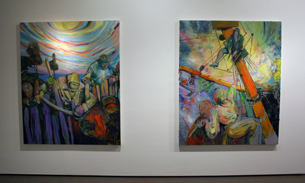 Hell Harbour en I Had Met My Equal - 160x130cm Olieverf en spuitbus op canvas