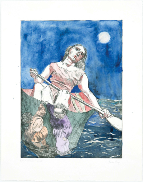 Paula Rego - Steering The Boat - 19x14inch Ets, aquatint en kleurpotlood