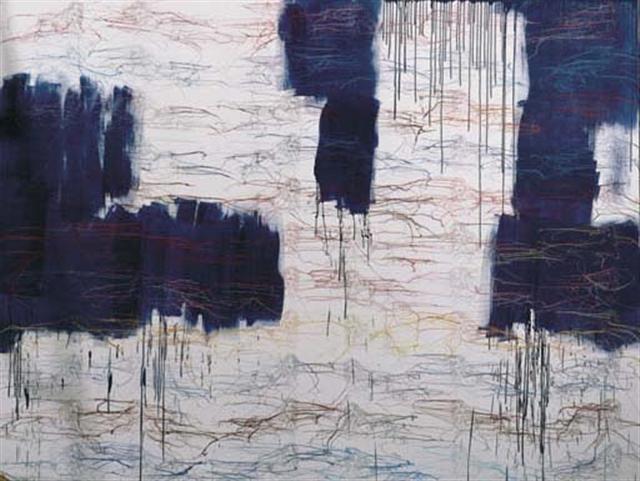 The Big Blue Expression Painting (BBEP) - 300x400cm Acrylverf, borduursel en gelmedium