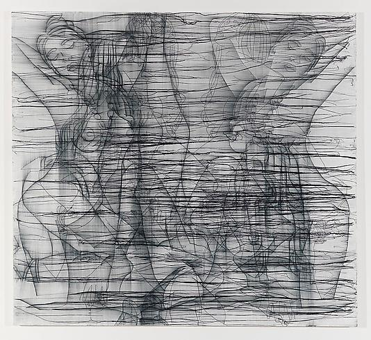 The Woman Who Failed To Be Shehrazade - 158x173cm Acrylverf, borduursel en gelmedium