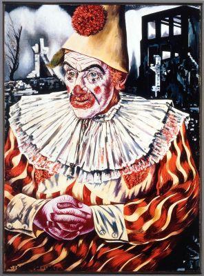 Clown Tussen Ruines - 150x110cm Olieverf