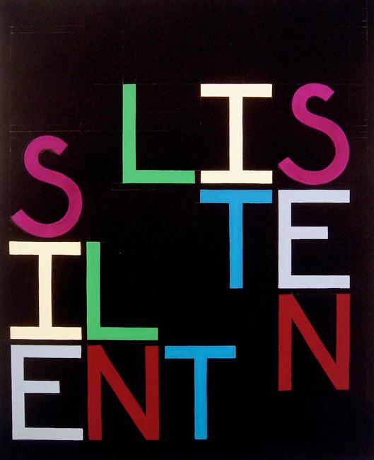 Listen Silent (Anagram II) - 51x41cm Goache op papier