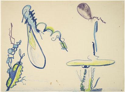 Untitled - 14x20inch Wasco en oliekrijtjes op papier