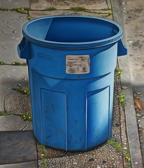 Blue Round Trashcan - 9x8inch Olieverf op paneel