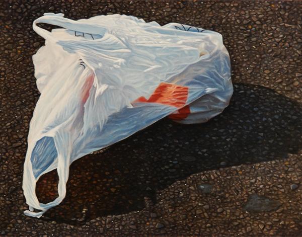 Grocery Bag - 5x5inch Olieverf op paneel