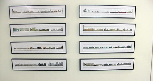 Karin van Bodegom - City Shapes - 100x200cm Collage potlood en pen