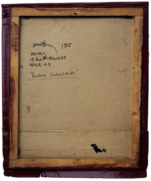 Verso - Bernad Venet - Relief, Carton rouge Médoc - 132x112cm