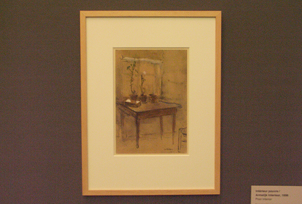 Armelijk Interieur - Inkt, aquarel en gouache op papier