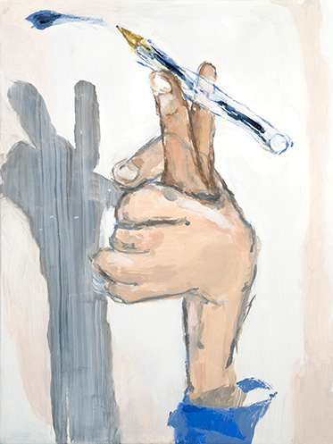 Two Fingers Writing - 40x50cm Olieverf op canvas
