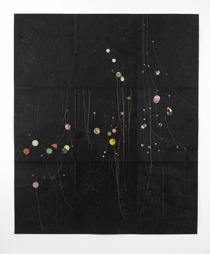 Untitled - 183x152cm Inkt, confettie en katoen op fotopapier