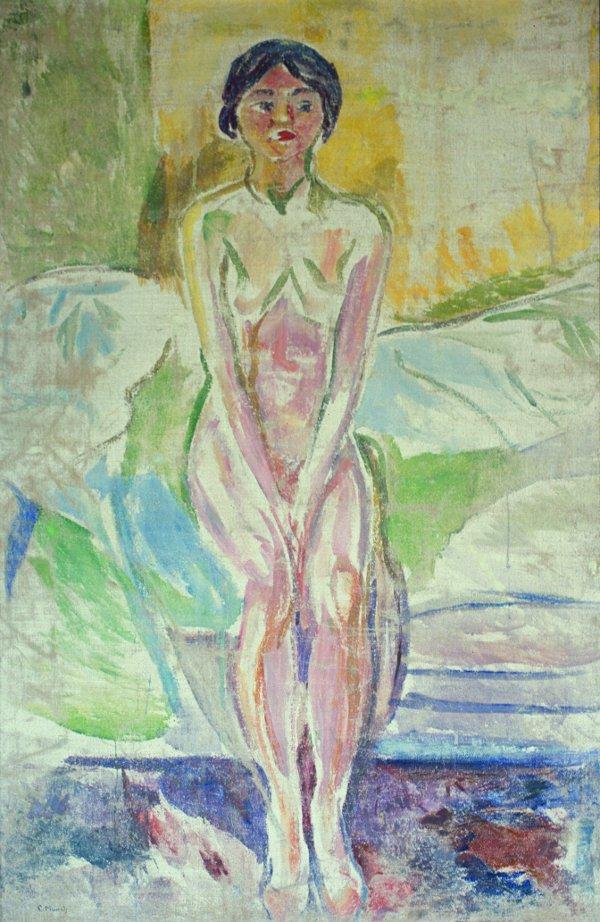 Edvard Munch, Puberteit (Zittend naakt op de rand van het bed), 1914-1916