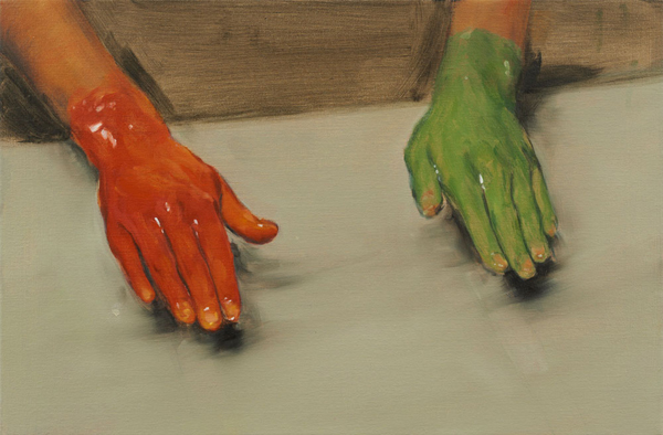 Red Hand, Green Hand - 40x60cm Olieverf op canvas