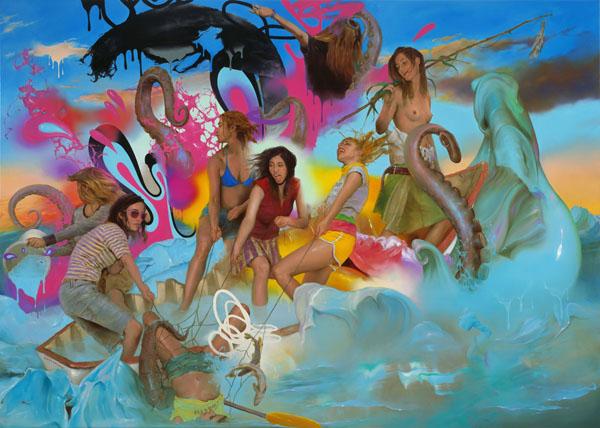 In den hohen Wellen unserer Abenteuer - 270x380cm Olieverf op canvas