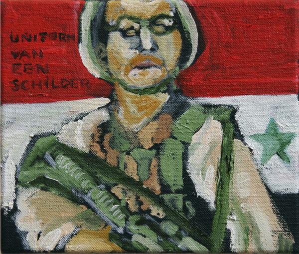 Uniform van een schilder - 21x25cm Olieverf op canvas