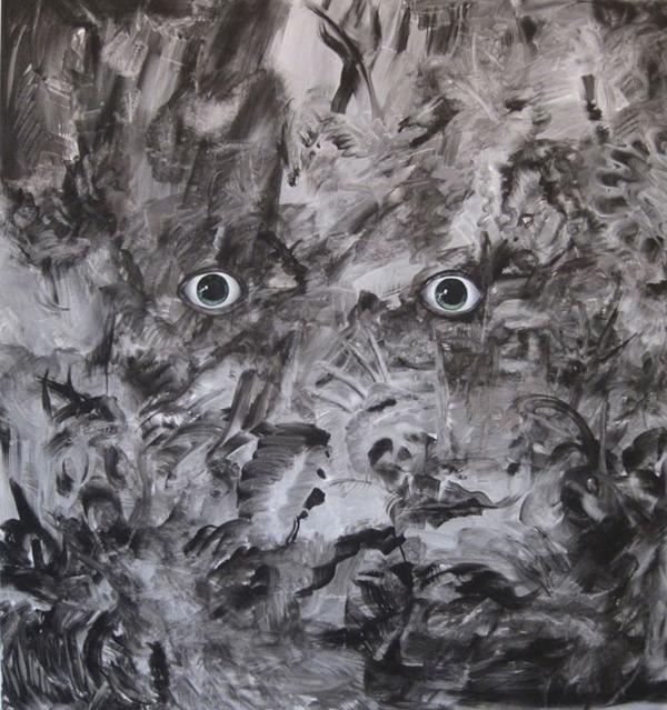 Fear - 68x64inch Acrylverf op canvas