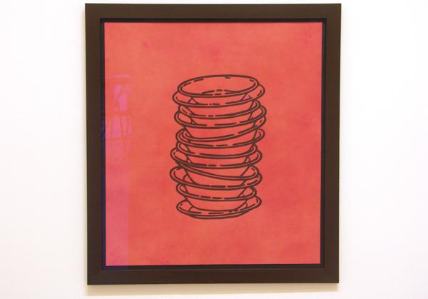 No title (stacked plates) - Inkt en analine verf op papier