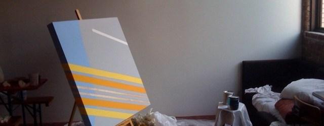 Conceptuele schilderkunst dus, Megan Scheminske schildert minimalistische patronen afkomstig uit Google maps. Gerelateerd