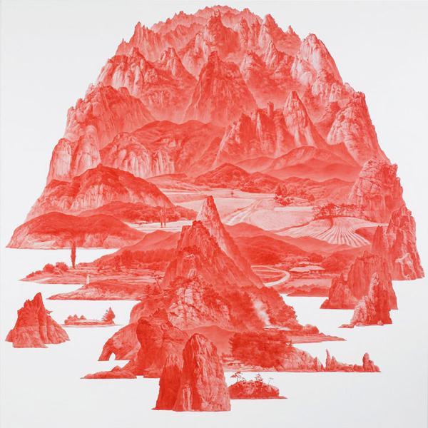 Between Red - Olieverf