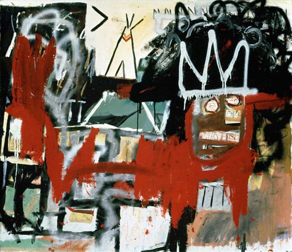 Untitled - 122x142cm Acrylverf, spuitbus, oliekrijt en collage op canvas