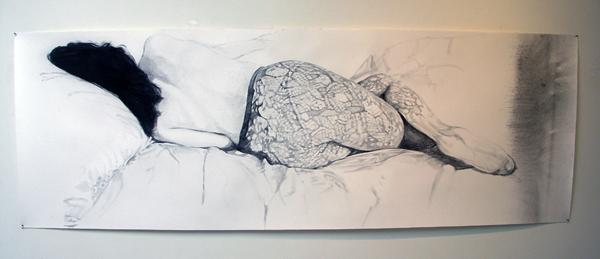 Anouk Griffioen - Zonder Titel - 205x80cm Grafiet en krijt op papier
