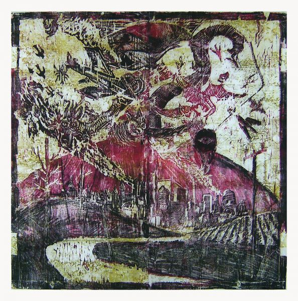 La Chute des anges rebelles - 100x100cm Houtsnede en monotype