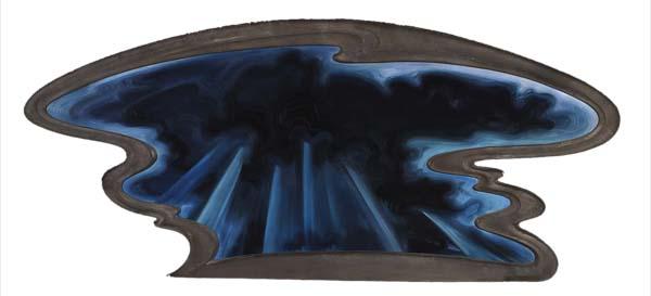 Abraham Joel Tobias - Sky Formation - 63x142cm Olieverf op shaped canvas en frame
