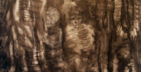Sven Verhaeghe - Dancing Bear (Afterparty) 240x150cm Houtskool op papier (detail)