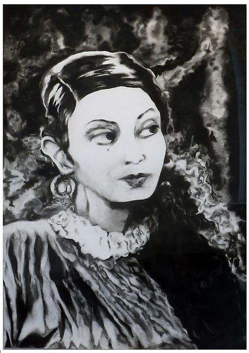 Leela Chitniss - 159x112cm Houtskool op papier