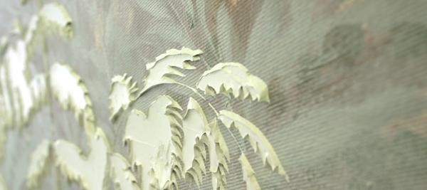 Jocye van Dongen - Zonder Titel - Olieverf en borduursel op canvas (detail)
