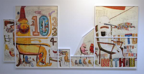 Shintaro Miyake - Natural Stance 334 - 158x336cm Acrylverf, kleurpotlood collage en potlood op papier
