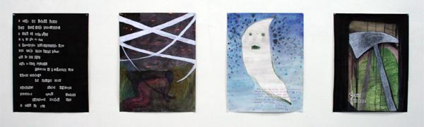Sebastiaan Schlicher - Day One & Answering Machine & Conn Driefter Autobiography Cover - allen 65x50 cm Inkt, aquarel, acrylverf en collage op papier