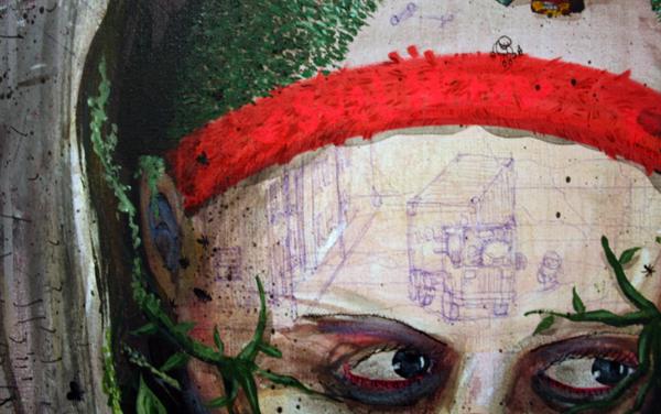 Dave de Leeuw - Onbekende titel - Acrylverf op doek (detail)