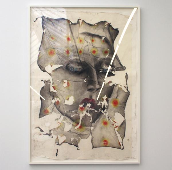 Matthew Monahan - Motercycle Maggie - 151x108cm Houtskool en pastel op rijstpapier op ander papier