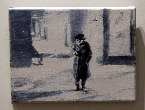 Clarire Harvey (1976) - Man in the Long Black Coat - Olieverf op doek