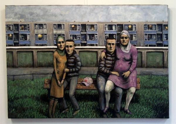 Elmer de Gruijl - Liefde in Overvecht Noord - Acrylverf op canvas 126x88cm