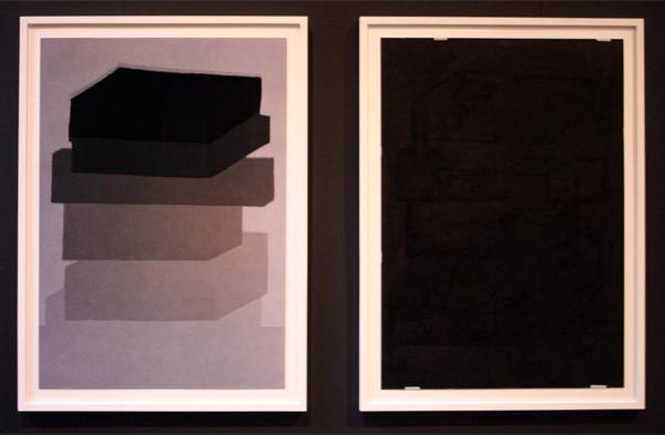 Katja Mater - Density Drawing 28 - 100x70 Tweeluik C-print en acrylverf op grijs papier