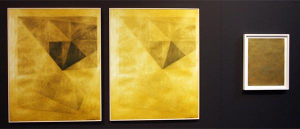 Katja Mater - Density Drwaing 32 - 90x73cm & 40x32cm Drieluik C-prints en acrylverf op papier