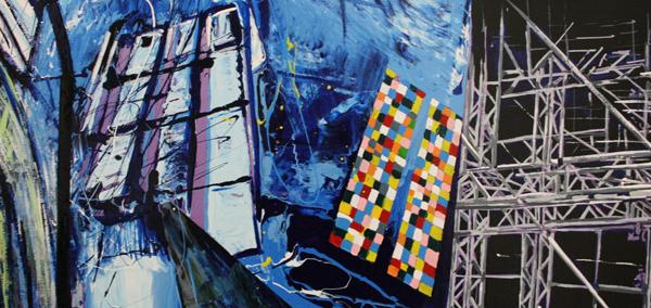 Yujin Kang - DOM-Koln - 112x162cm Acrylverf en enamel op canvas (detail)