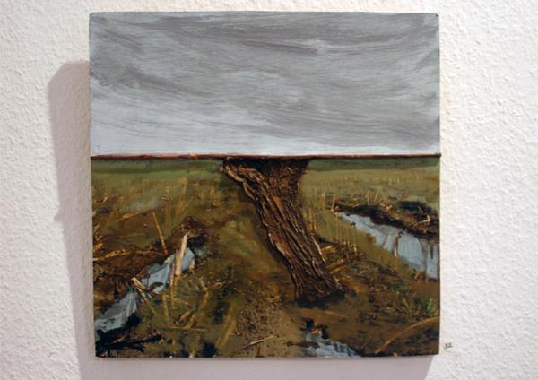 Dick van Arkel - Maisveldje - 45x45cm Olieverf met tak op foto op paneel