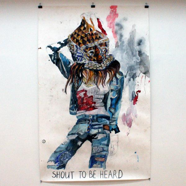 Charlotte Schleiffert - Shout To Be Heard - 238x151 Mixed media op papier