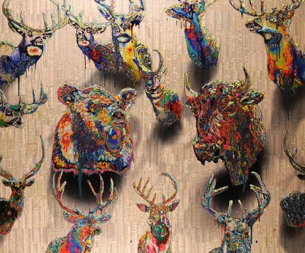 Gordon Cheung - Endgame 4 - 153x218cm Inkt, arcylgel en spuitbus op beurspagina op canvas