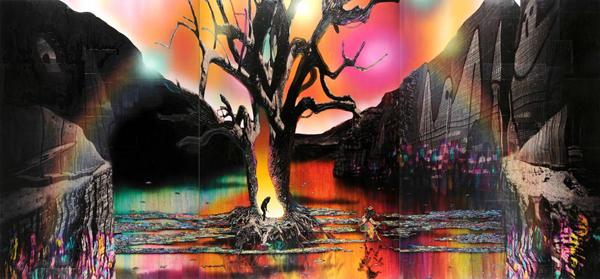 Gordon Cheung - The Promised Land - 163x489cm Inkt, arcylgel en spuitbus op beurspagina op zeil