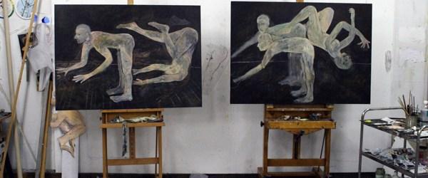 Ik was gisteren in Utrecht en was te gast bij Roland Sohier (die we kennen van tekenwerk en recentelijk zijn schilderwerk).