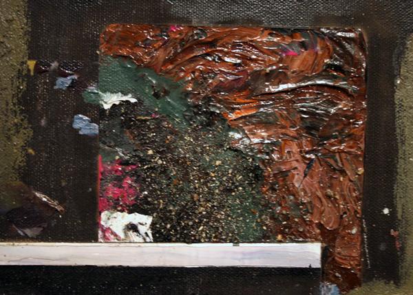 Tjebbe Beekman - Der Psychoanalytiker - 150x122cm Acrylverf, enamel en zand op canvas op paneel (detail)