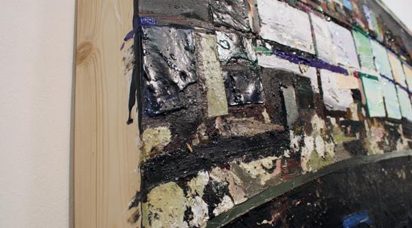 Tjebbe Beekman - Gewärliche Liebenschaft - 150x134cm Acrylverf, enamel en zand op canvas op paneel (detail)