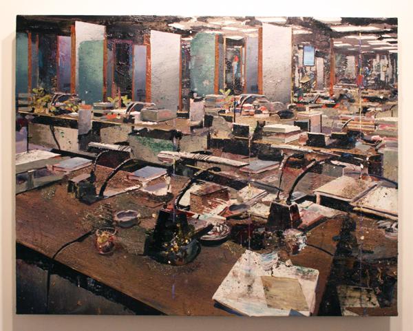 Tjebbe Beekman - Office 1 - 130x102cm Acrylverf, enamel en zand op canvas op paneel