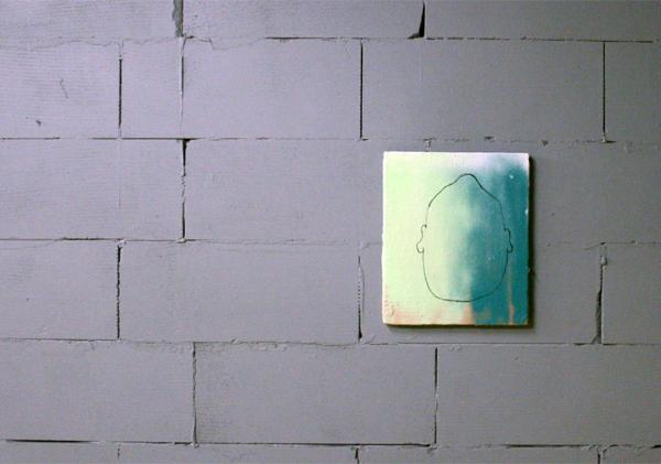 Oliver Rafferty - Upside-down Head - Olieverf, spuitbus en marker op paneel