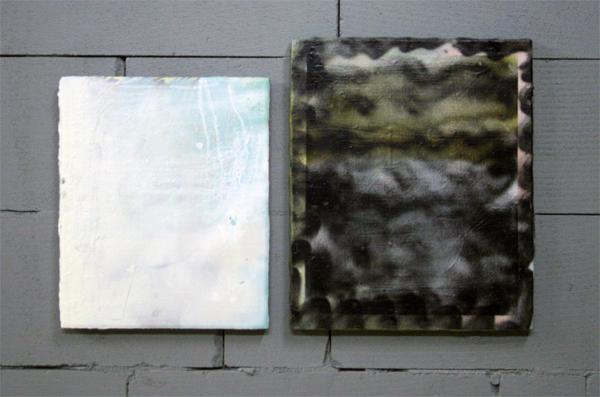 Oliver Rafferty - White painting with black painting - Olieverf, spuitbus, pastel en marker op paneel en canvas